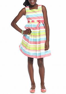 Bonnie Jean Linen Stripe Dress Girls 7-16