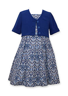Bonnie Jean Cardigan and Poplin Print Dress Girls 7-16