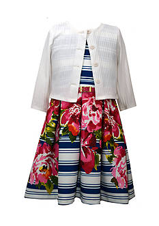 Bonnie Jean Floral Striped Dress and Cardigan Girls 7-16