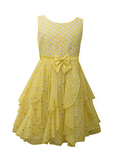 Bonnie Jean Polka Dot Chiffon Cascade Dress Girls 7-16
