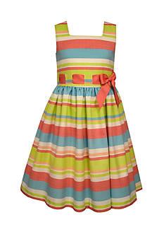 Bonnie Jean Linen Stripe Dress Girls 7-16 Plus