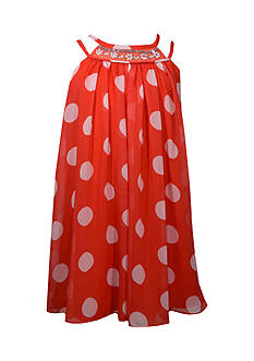 Bonnie Jean Orange Polka Dot Chiffon Dress Girls 4-6x
