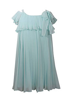 Bonnie Jean Aqua Chiffon Cold Shoulder Dress Girls 4-6x