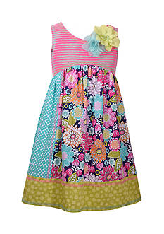 Bonnie Jean Stripe and Floral Multi Color Dress Girls 4-6x