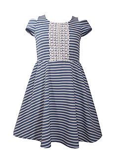 Bonnie Jean Striped Cold Shoulder Skater Dress Girls 7-16 Plus