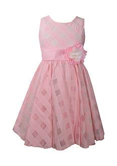 Bonnie Jean Sheer Plaid Organza Dress Girls 7-16 Plus
