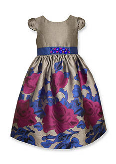 Bonnie Jean Floral Jacquard Border Waistline Dress Girls 4-6x