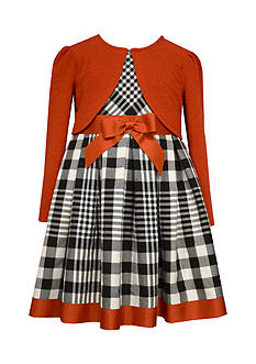 Bonnie Jean Plaid Dress With Cardigan Girls 4-6x