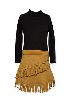 Bonnie Jean Faux Suede Drop Waist Dress 4-6x