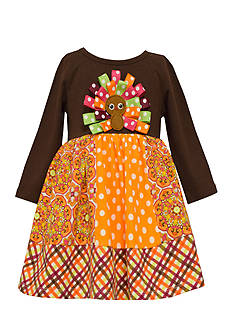 Bonnie Jean Turkey Mixed Media Dress Girls 4-6x