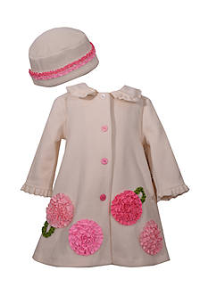 Bonnie Jean Ivory Flower Coat Girls 4-6X