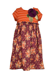 Bonnie Jean Orange Ruched Empire Floral Skirt Dress Girls 7-16