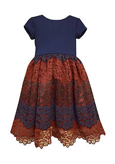 Bonnie Jean Navy Ponte Lace Waistline Dress Girls 7-16