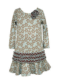 Bonnie Jean Floral Jaquard Drop Waist Dress Girls 7-16