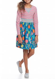 Bonnie Jean Stripe Tree Skirt Knit to Woven Dress Girls 7-16