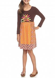 Bonnie Jean Multi-Pattern Turkey Dress Girls 7-16