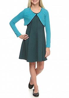 Bonnie Jean 2-Piece Polka Dot Dress and Cardigan Set Girls 7-16