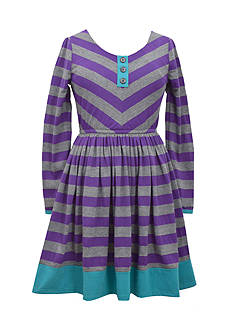 Bonnie Jean Knit Striped Dress Girls 7-16 Plus