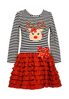 Bonnie Jean Reindeer Stripe Drop Waist Dress Girls 4-6x