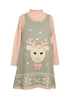 Bonnie Jean Reindeer Sweater Dress Girls 4-6x