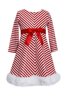 Bonnie Jean Chevron Sequin Santa Dress Girls 4-6x