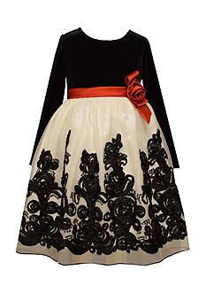 Bonnie Jean Border Bonaz Mesh Dress Girls 4-6x