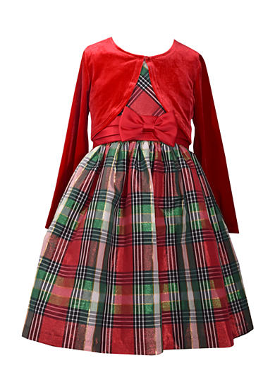 Bonnie Jean Solid Jacket and Plaid Dress Girls 4-6x