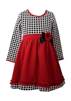 Bonnie Jean Windowpane Check Dress Girls 4-6x