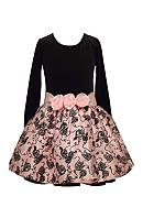 Bonnie Jean Velvet Floral Dress Girls 7-16