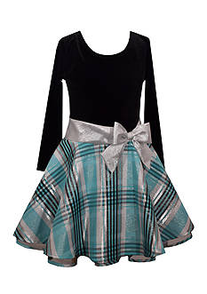 Bonnie Jean Velvet Drop Waist Turquoise Plaid Bottom Dress Girls 7-16