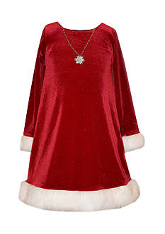 Bonnie Jean Santa Dress with Necklace Girls 7-16