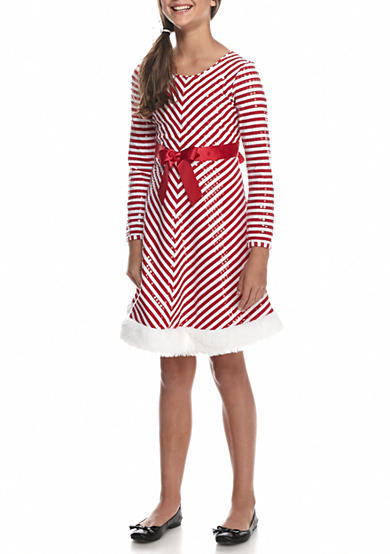 Bonnie Jean Santa Candy Cane Dress Girls 7-16