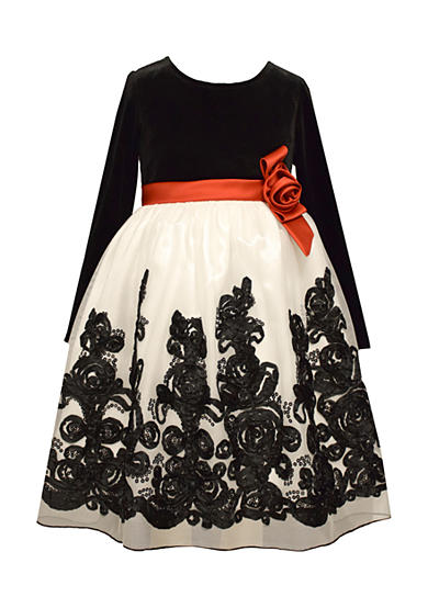 Bonnie Jean Velvet Flower Dress Girls 7-16