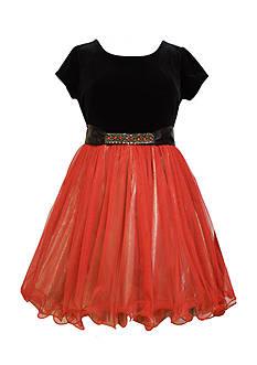 Bonnie Jean Velvet and Mesh Dress Girls 7-16