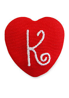 Riviera 'K' Monogram Grosgrain Wrapped Large Heart Button