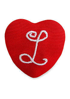 Riviera 'L' Monogram Grosgrain Wrapped Large Heart Button