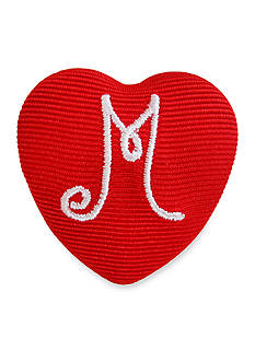 Riviera 'M' Monogram Grosgrain Wrapped Large Heart Button