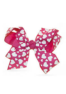Riviera Fashion Grosgrain Heart Print Bow