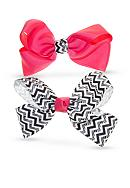 Riviera 2-Pack Solid and Zebra Chevron Print Bow