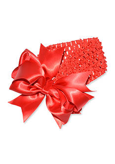 Riviera Large Satin Bow on Crochet Headwrap