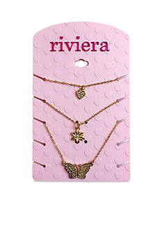 Riviera 3-Piece Heart, Flower and Butterfly Necklace Set