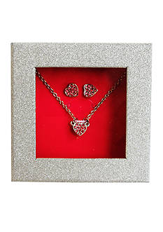 Riviera Silver-Tone Pave Heart Earring & Necklace Box Set
