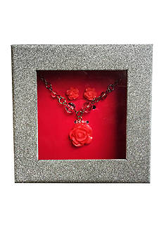 Riviera Flower & Bead Necklace with Flower Stud Earrings Box Set