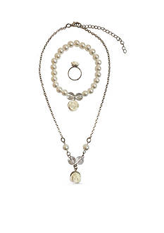 Riviera 3-Piece Pearl and Rose Ring, Bracelet & Necklace Set