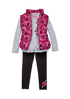 Flapdoodles Flocked Flower 3-Piece Vest Set Girls 4-6X