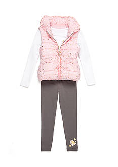 Flapdoodles Foil Heart 3-Piece Vest Set Girls 4-6x