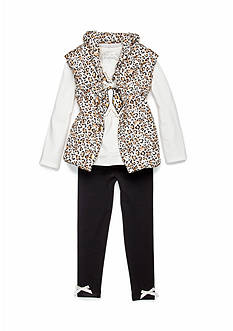 Flapdoodles Animal Printed 3-Piece Vest Set Girls 4-6X