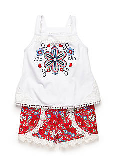 Flapdoodles 2-Piece Flower Tank Top and Medallion Short Set Girls 4-6x