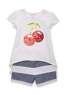 Flapdoodles Cherry Eyelet Top and Short 2-Piece Set Girls 4-6x
