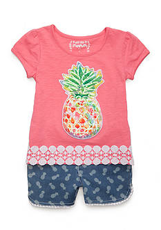 Flapdoodles Pineapple Top and Short Set Girls 4-6x